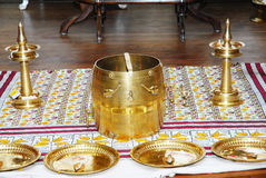 Hochzeits-Funktionsanordnung Keralas hindische Stockfotografie