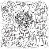Hochzeits-Gegenstände eingestellt Stockfotos