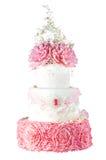 Hochzeits-Kuchen getrennt auf weißem Hintergrund Lizenzfreies Stockbild