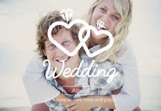 Hochzeits-Liebe verheiratetes Glück-Romance Konzept zwei stockbilder