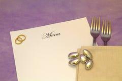 Hochzeits-Menü Stockfoto