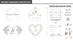 Hochzeits-Monogramm-Erbauer, moderne Minimalistic-Sammlung Schablonen für Einladungskarten, sparen das Datum, Logo stock abbildung