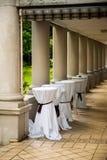Hochzeits- oder Parteiortvorbereitung Lizenzfreie Stockbilder
