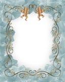 Hochzeits-oder Party-Einladungs-blaues Blumen Lizenzfreie Stockfotografie