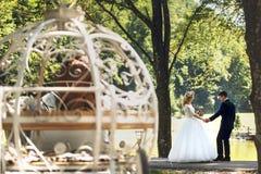 Hochzeits-Paarbr des Märchenaschenputtel-Hochzeitswagens magisches Lizenzfreies Stockbild