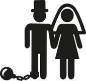 Hochzeits-Paarpiktogrammmann mit Fessel- und Eisenball vektor abbildung