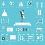 Hochzeits-Planer Icons und Infographics-Satz Stockfotos