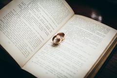 Hochzeits-Ringe auf einem Buch Lizenzfreie Stockfotografie