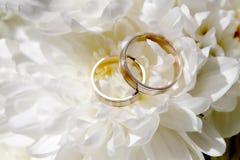 Hochzeits-Ringe mit Blumen Stockfotografie