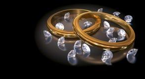 Hochzeits-Ringe u. Diamanten Stockfotografie