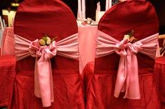 Hochzeits-Stuhl-Abdeckung Stockfotografie