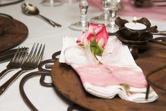Hochzeits-Tabellen-Einstellung Lizenzfreie Stockfotografie