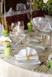 Hochzeits-Tabellen-Einstellung Stockfoto