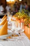 Hochzeits-Tabellen-Einstellung Stockbild