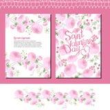 Hochzeits- und Valentinsgrußs Blumenschablonen mit rosa Rosen stock abbildung