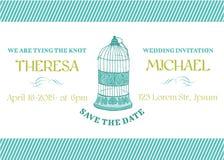 Hochzeits-Weinlese-Einladungs-Karte Lizenzfreie Stockbilder