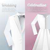 Hochzeits-Zeremonie-Einladungs-Karte Papier herausgeschnittene Illustration stock abbildung