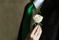 Hochzeitsanzug und Weißrose Stockbilder
