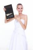 Hochzeitsausgabenkonzept. Braut mit Geldbeutel und einem Dollar Lizenzfreies Stockfoto