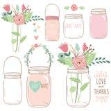Hochzeitsblume Mason Jar des Handabgehobenen betrages lizenzfreie abbildung