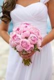 Hochzeitsblumenstrauß der rosa Pfingstrosen Lizenzfreies Stockfoto