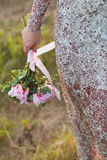 Hochzeitsblumenstrauß der rosa Pfingstrosen Stockfotos
