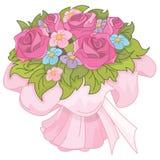 Hochzeitsblumenstrauß der rosafarbenen Rosen Lizenzfreie Stockfotos