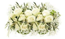 Hochzeitsblumenstrauß der weißen Rosen Lizenzfreie Stockfotos