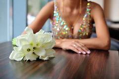 Hochzeitsblumenstrauß des weißen Calla Stockbilder