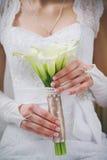 Hochzeitsblumenstrauß des weißen Calla blüht lilly in den Händen der jungen Braut Stockbilder