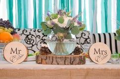 Hochzeitsblumenstrauß in einem Vase Stockfotos