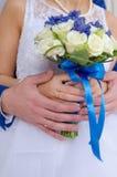 Hochzeitsblumenstrauß und -ringe Lizenzfreie Stockfotografie