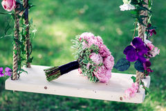 Hochzeitsblumenstrauß von Pfingstrosen Stockbilder