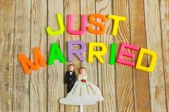 Hochzeitsbraut- und -bräutigampuppe mit gerade geheiratet Stockfotografie