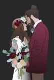 Hochzeitsbrautbräutigam-Blumenstraußverpflichtung Lizenzfreie Stockfotografie