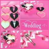 Hochzeitscollage von vier rosa, von Schwarzweiss-Braut und von Bräutigamherzplätzchen Stockfotos