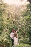 Hochzeitsdekoration im Garten Stockfotos