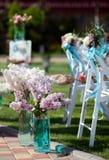 Hochzeitsdekoration von Blumen Stockbild