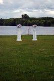 Hochzeitsdekorationen in einem Park Stockfotos