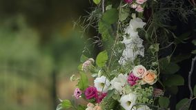 Hochzeitsdekorationen für Hochzeitszeremonie im Freien Hölzerner Bogen verziert mit den weißen und rosa Rosen Bienen und Hummeln stock video footage