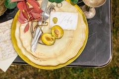 Hochzeitsdekorationen im Herbst Stockbild