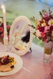 Hochzeitsdekortabelle Stockfotos