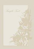 Hochzeitseinladung, -feld, -orchideen und -lilien Stockbild