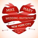 Hochzeitseinladung in Form des Herzens Lizenzfreies Stockbild