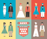 Hochzeitseinladung mit Figürchen Lizenzfreie Stockbilder