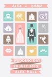 Hochzeitseinladung mit flachen Ikonen Süße Farben Stockfotos