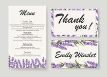 Hochzeitseinladung mit Lavendel Elegante vektorabbildung lizenzfreie abbildung