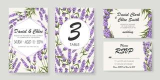 Hochzeitseinladung mit Lavendel Elegante vektorabbildung stock abbildung