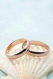 Hochzeitseinladung mit Ringen und seahell Lizenzfreie Stockfotos