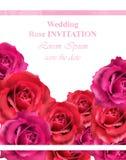 Hochzeitseinladung mit Rosen Vektor Schöner rosafarbener Blumendekor Elegante Dekorweinlesehintergründe Lizenzfreies Stockbild
